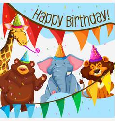 wild animal birthday party vector image