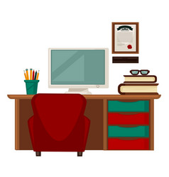workplace with books and computer vector image