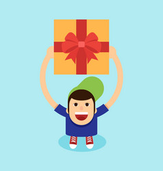 young man raise gift box his hand above his vector image