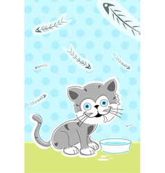 cat with fish bones vector image