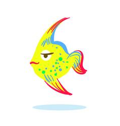 cute serious face cartoon yellow fish character vector image