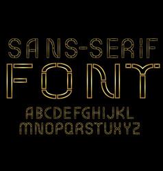 Golden sans-serif modern font on black background vector