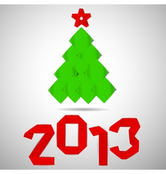 Green tree with red stripe 2013 numerals Christmas vector image vector image