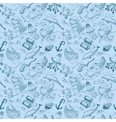 marine seamless pattern with doodle mermaid vector image vector image