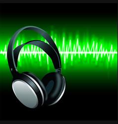 realistic headphones digital equalizer sound wave vector image