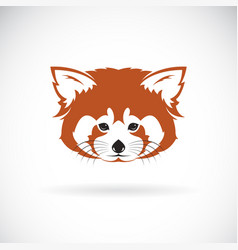 red panda head design on white background wild vector image