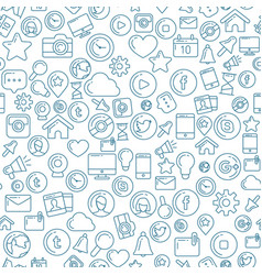 social media blue seamless pattern vector image vector image