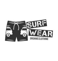 Vintage Surfing Wear stamp design Surf Clothing vector image