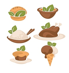 food and leaves vector image vector image