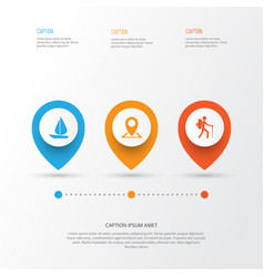 journey icons set collection of location boat vector image