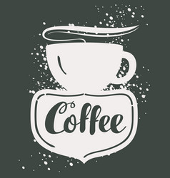 sign cafe with cup vector image vector image