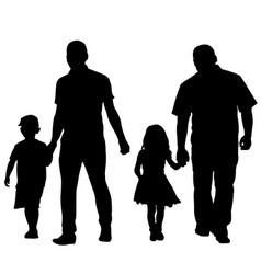 silhouettes of fathers holding kids vector image vector image