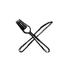 sticker white knife and fork icon vector image