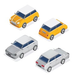 City Cars Isometric Set with Mini Car and Sedan vector image vector image