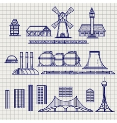 Country and city archetictural objects sketch vector image vector image
