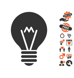 hint bulb icon with dating bonus vector image