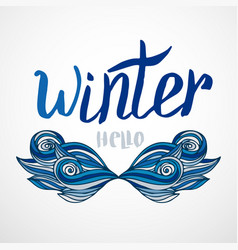 Hipster winter card with creative mustache vector
