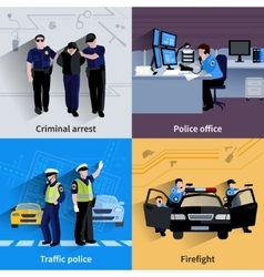 Policeman People 2x2 Design Compositions vector image vector image