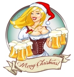 Pretty girl with beer Christmas label vector image vector image