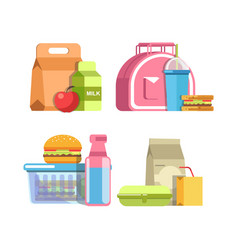 school lunches in special containers and inside vector image