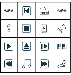 Set of 16 music icons includes stop button note vector