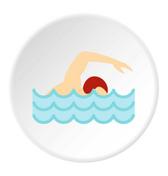 swimmer crawling in pool icon circle vector image vector image