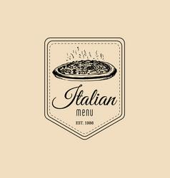 vintage hipster italian food logo modern vector image vector image