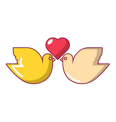 Wedding doves with heart icon cartoon style vector