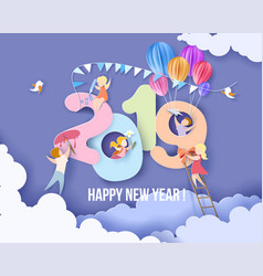 2019 happy new year design card with kids vector