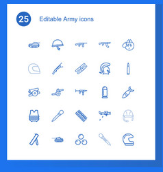 25 army icons vector