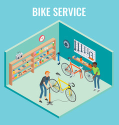 3d isometric bike service concept vector image