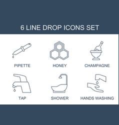 6 drop icons vector