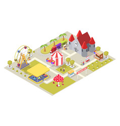 amusement park attractions flat isometric vector image