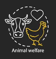 Animal welfare care chalk concept icon voluntary vector