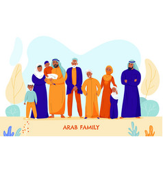 arabs big family composition vector image