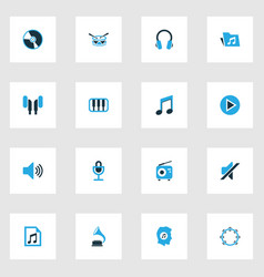 Audio colorful icons set collection of note vector