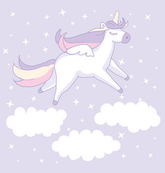 beautyful unicorn on lilac background with clouds vector image