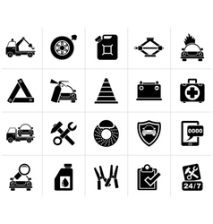 Black Roadside Assistance and tow icons vector