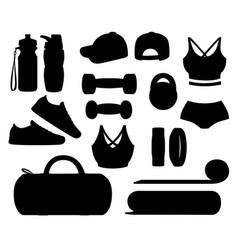 black silhouette set sports accessories vector image