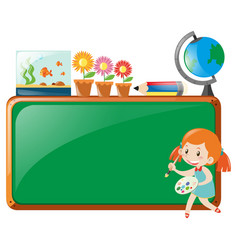 board design with girl and paintbrush vector image