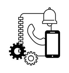 book address smartphone bell call center vector image