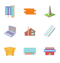 Building plan icons set cartoon style vector