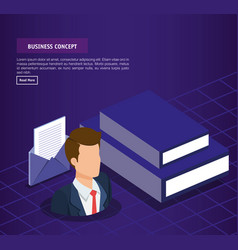 business concept isometric set icons and vector image