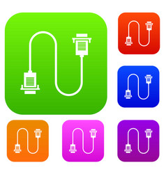 Cable wire computer set collection vector