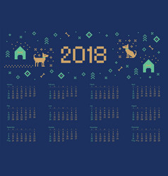 calendar 2018 with cross stitch dog pixel art vector image