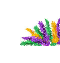 Card with feathers in mardi gras colors vector