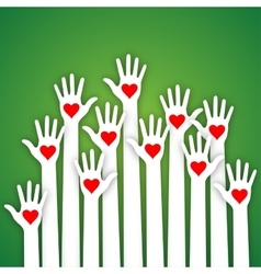 Caring up hands hearts volunteers l vector
