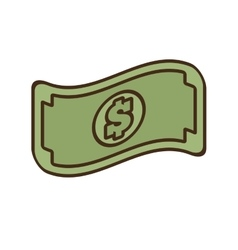 Cartoon bill money dollar cash icon vector