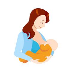 cartoon breastfeeding concept mother and newborn vector image
