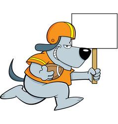 Cartoon dog wearing a football uniform while runni vector